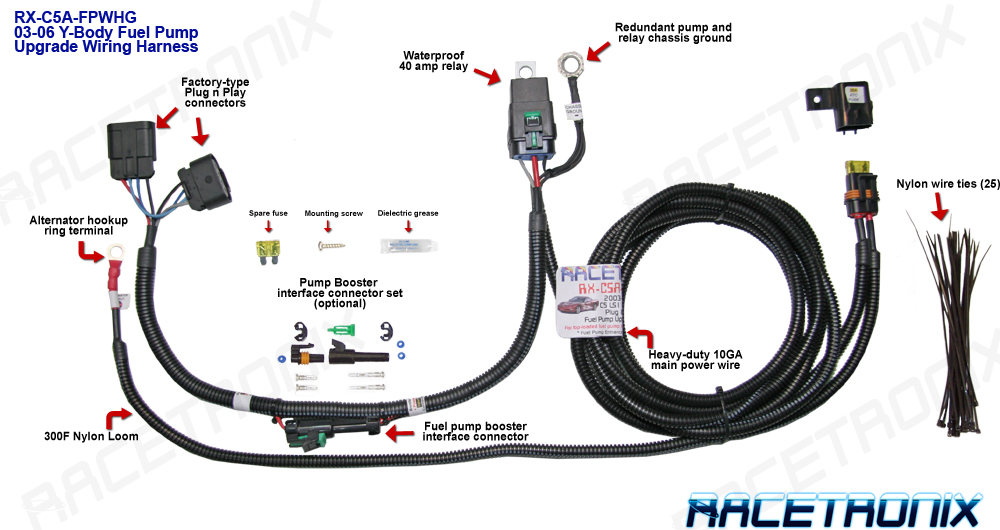 Common Ground Wiring Harness : Fuel pump kit racetronix up corvette c